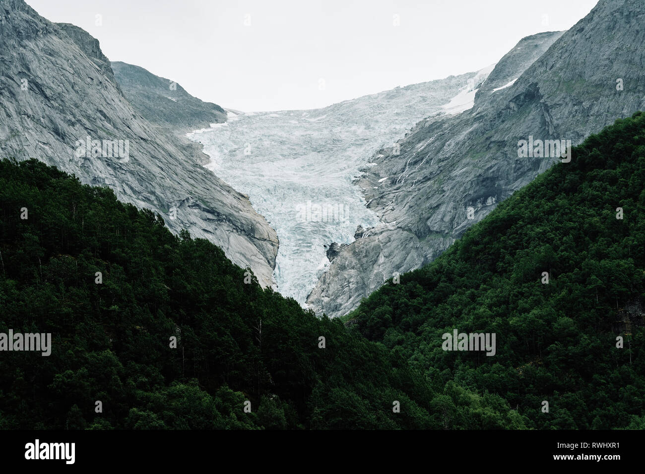 Glacier Retreat - The retreating Briksdal Glacier / Briksdalsbreen an arm of the larger Jostedalsbreen glacier in Stryn Norway. - Stock Image