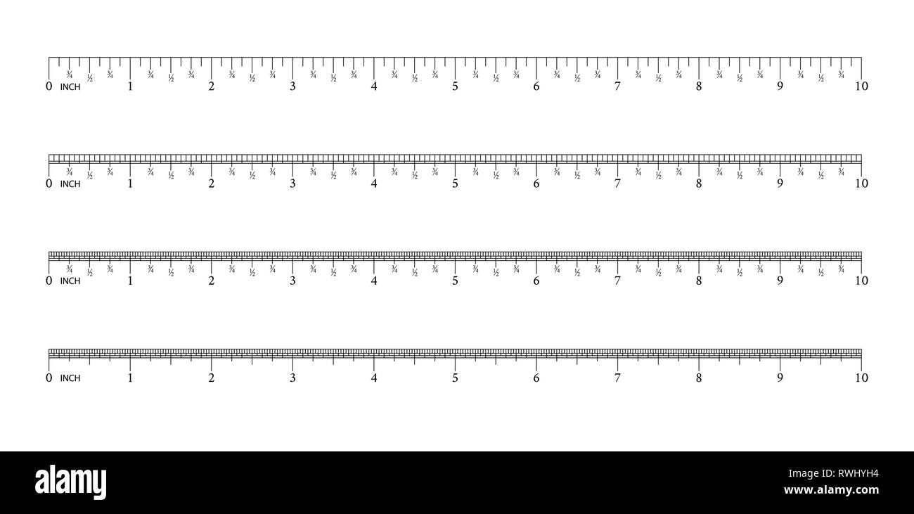 Ruler 8 inch.16 inch. 32 inch. Graduation of an inch. Measuring tool. Ruler Graduation. Size indicator units. Vector. - Stock Image