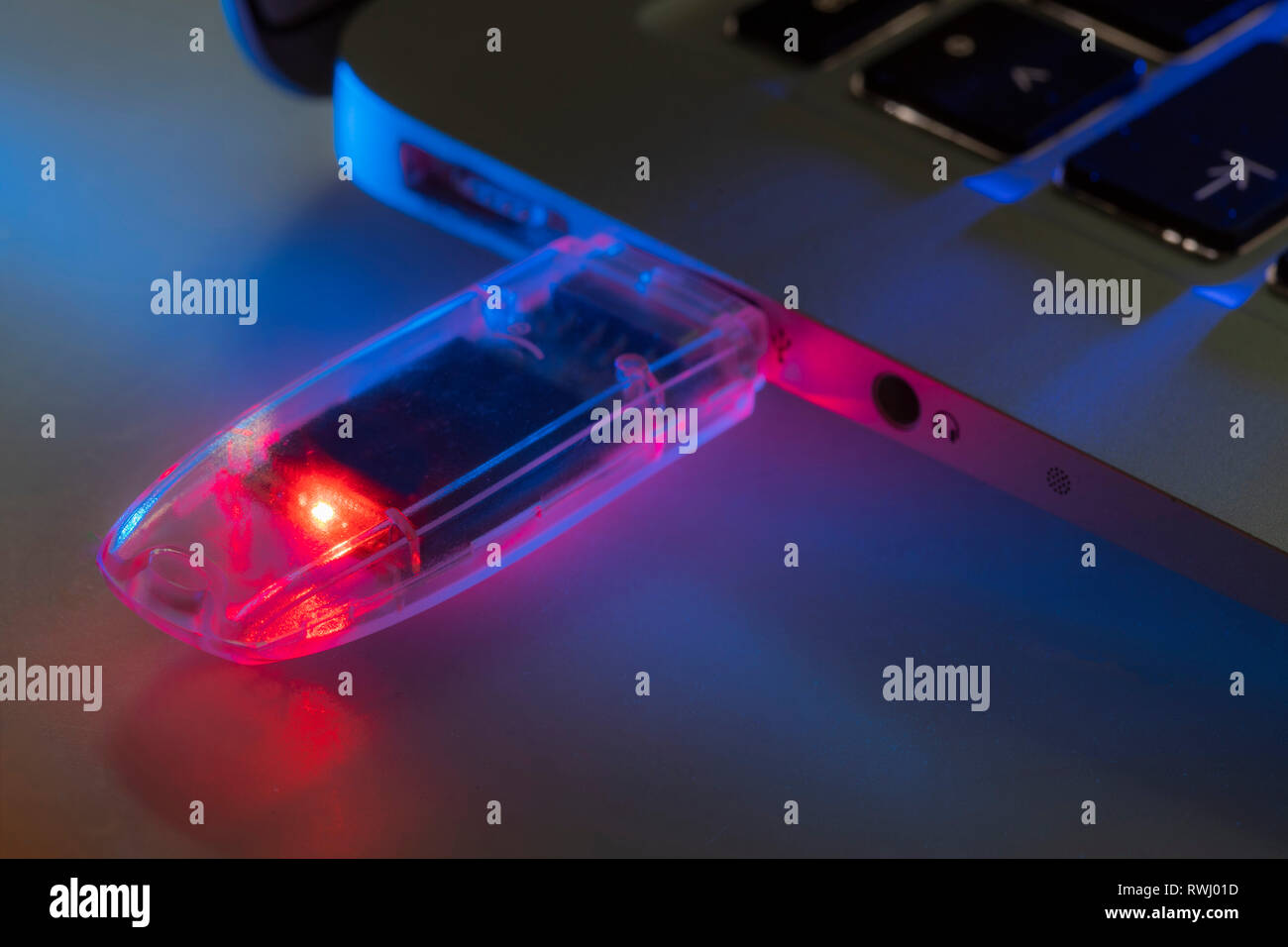USB memory stick, in a laptop computer, - Stock Image