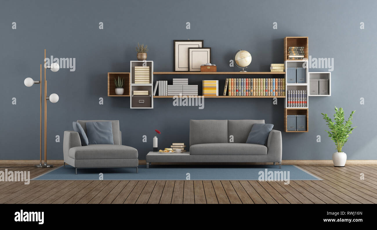 Blue Modern Living Room With Sofa, Chaise Lounge And Bookcase - 3d Rendering Stock Photo - Alamy
