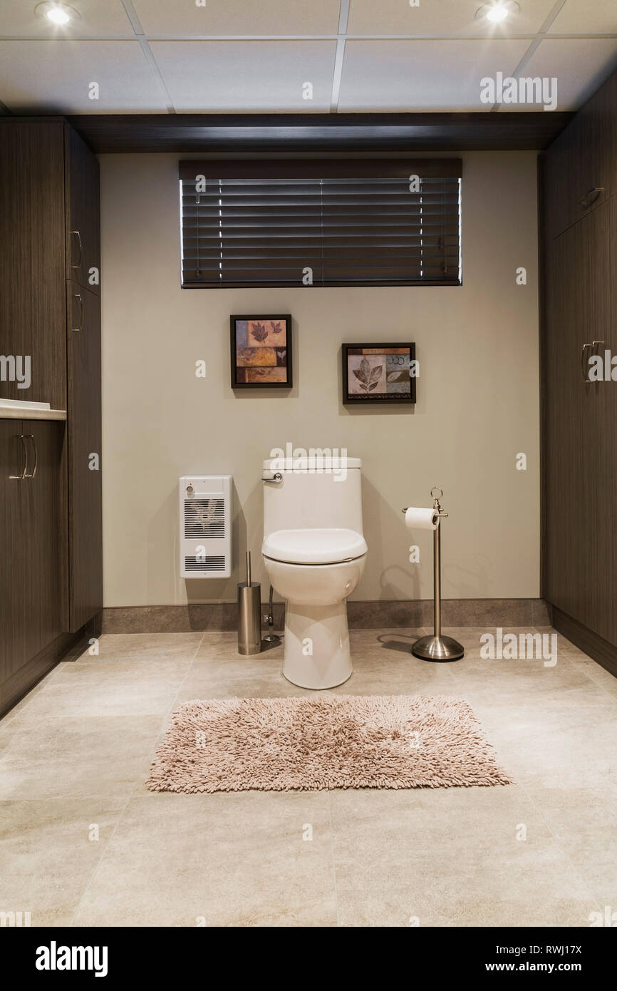 White Porcelain Toilet And Brown Wood Veneer Cabinets In The Laundry Room Bathroom In The Basement Inside A Residential Home Quebec Canada Stock Photo Alamy