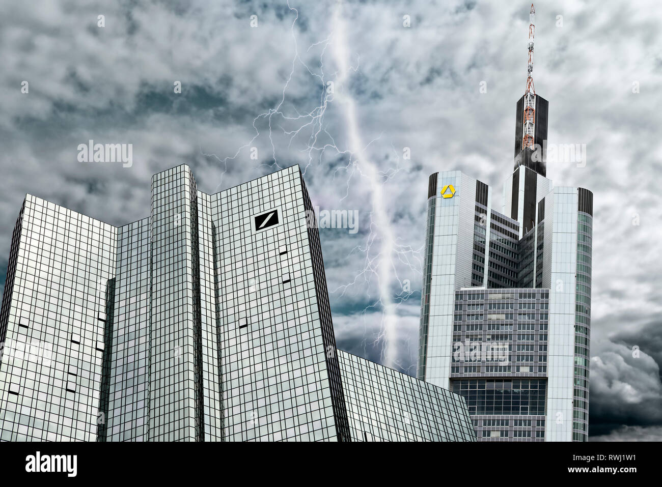 Deutsche Bank and Commerzbank in Frankfurt in front of a gray sky symbolising the crisis of the financial institutions and their possible merger.[M] Stock Photo