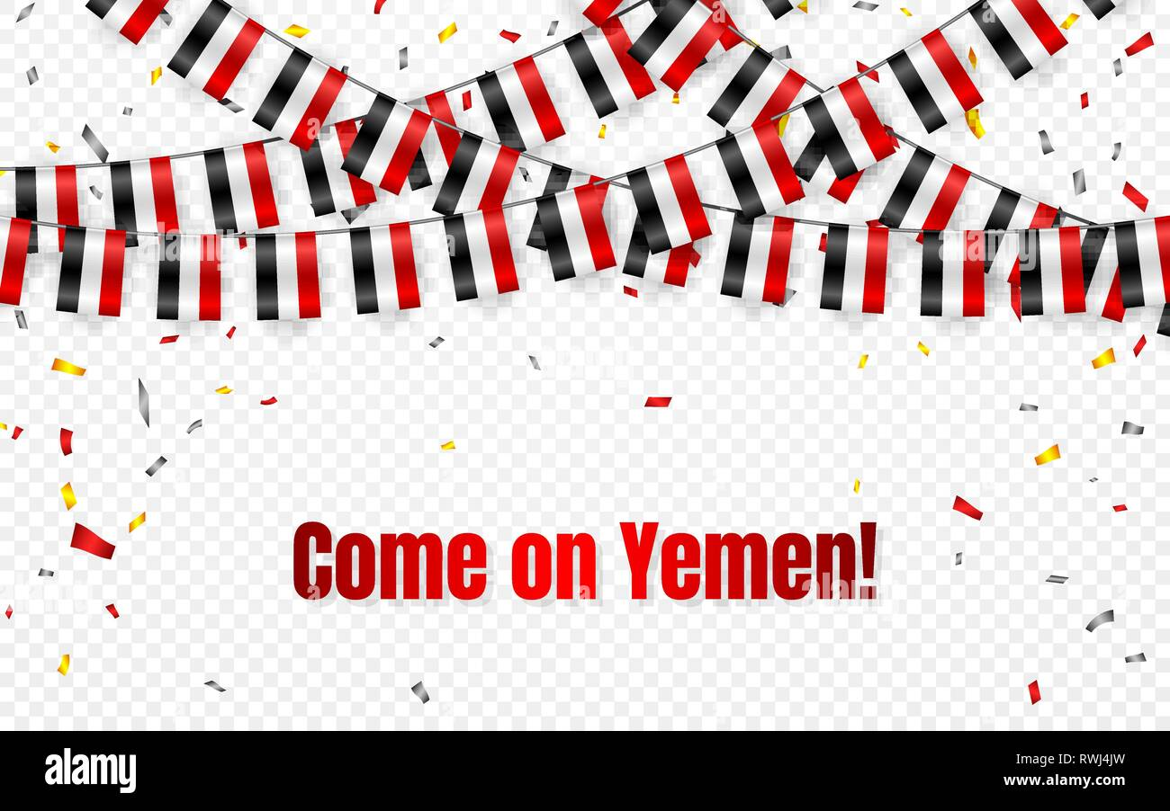 Yemen flags garland on transparent background with confetti. Hang bunting for Yemen independence Day celebration template banner, Vector illustration. Stock Vector