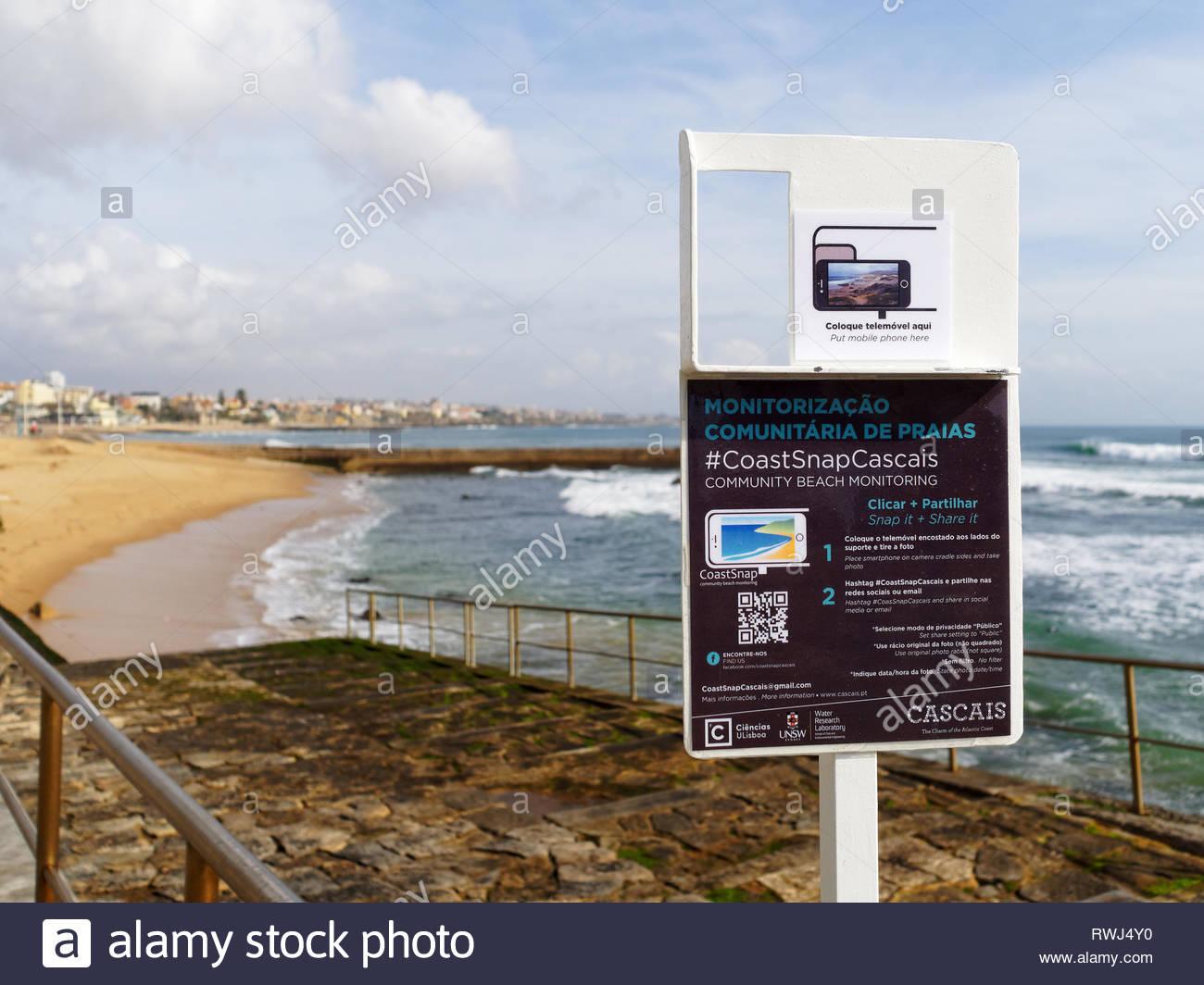 Social media coastal view Cascais, Portugal - Stock Image