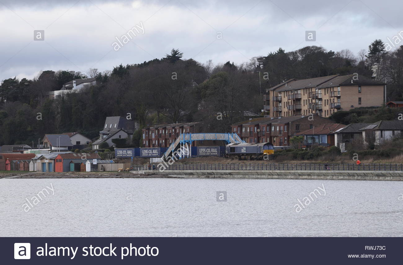 Elevated view of freight train passing Broughty Ferry Scotland  March 2019 Stock Photo