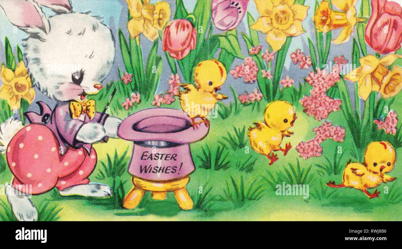 Happy Easter easter wallpaper u merry christmas and happy new year rhchristmasnewyearcom greeting card bunny clipart rhpinterestcom vintage Old Fashio - Stock Image