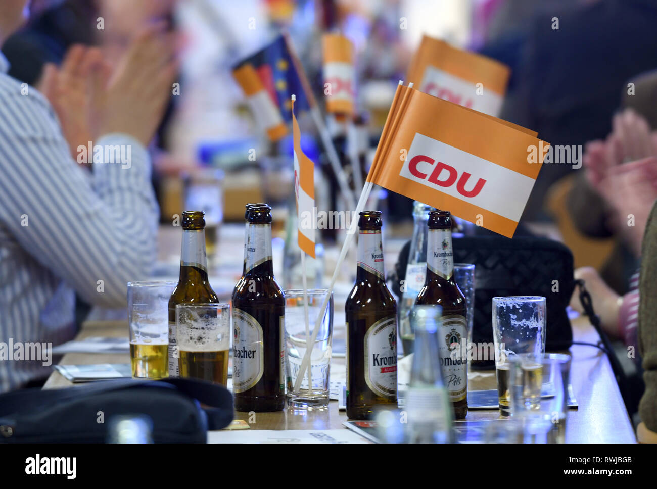 Lennestadt, Germany. 06th Mar, 2019. CDU flags are on the table at the CDU North Rhine-Westphalia's Political Ash Wednesday in the Schützenhalle. Credit: Ina Fassbender/dpa/Alamy Live News - Stock Image