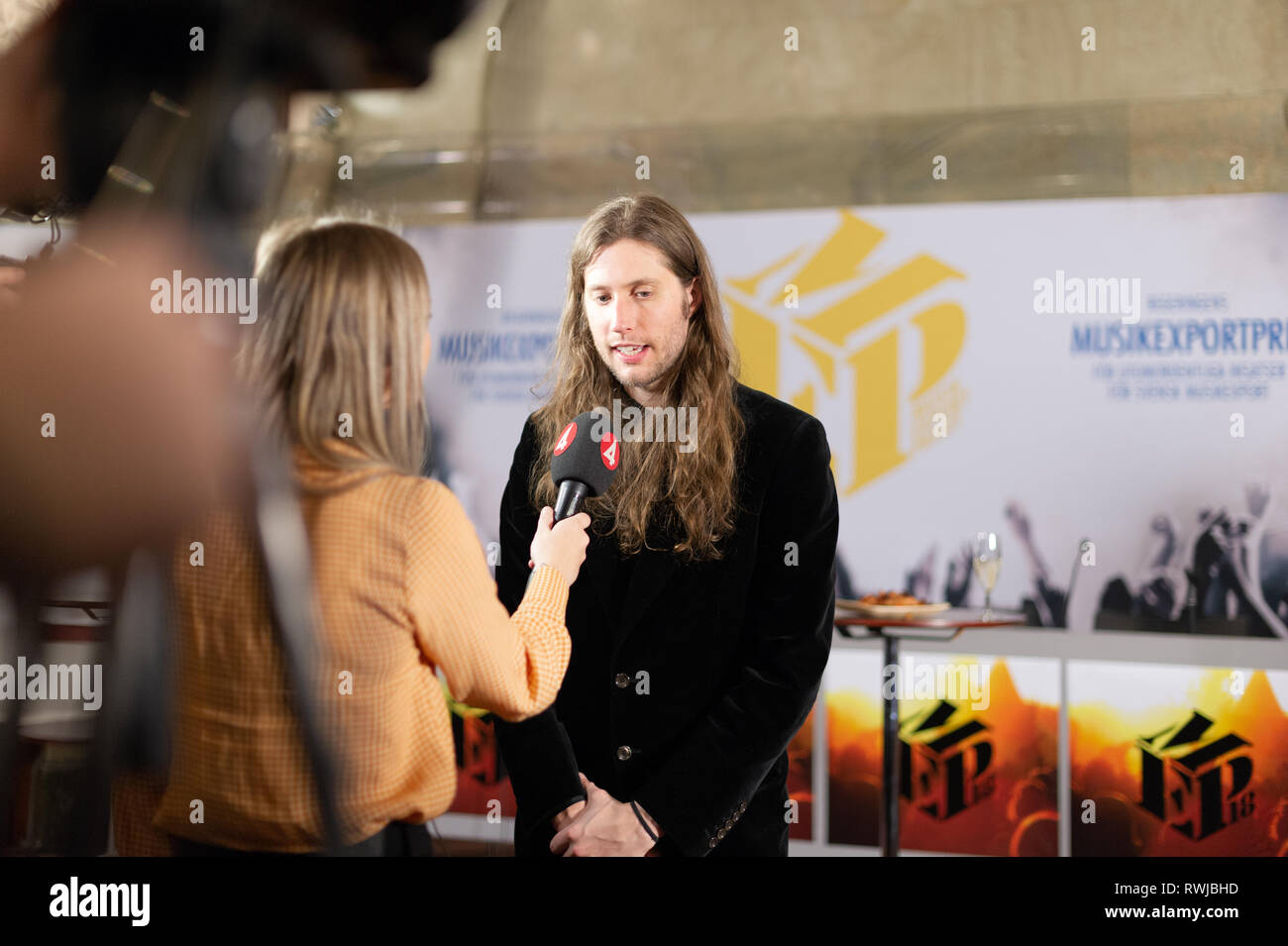 Stockholm, Sweden, March 6, 2019. Grammy-winning Ludwig Goransson receives the Swedish Government's Music Export Prize 2018. The government's Music Export Prize this year goes to the Swedish composer, conductor, and record producer Ludwig Goransson. The prize is awarded every year to someone in the music industry who during the past year has drawn attention to Sweden, and thereby contributed to Swedish exports. Credit: Barbro Bergfeldt/Alamy Live News Stock Photo