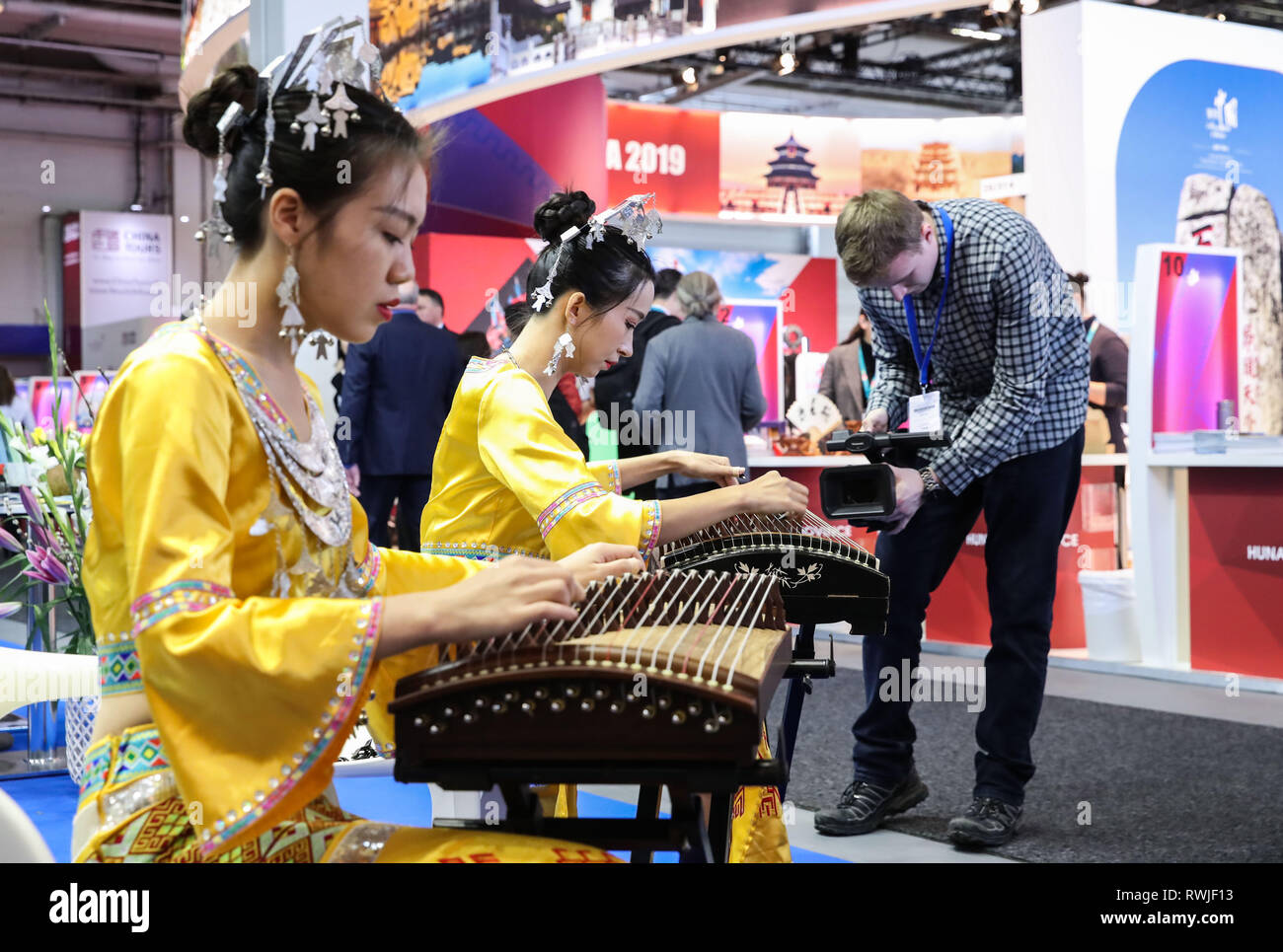 Berlin, Germany  6th Mar, 2019  Musicians perform Chinese