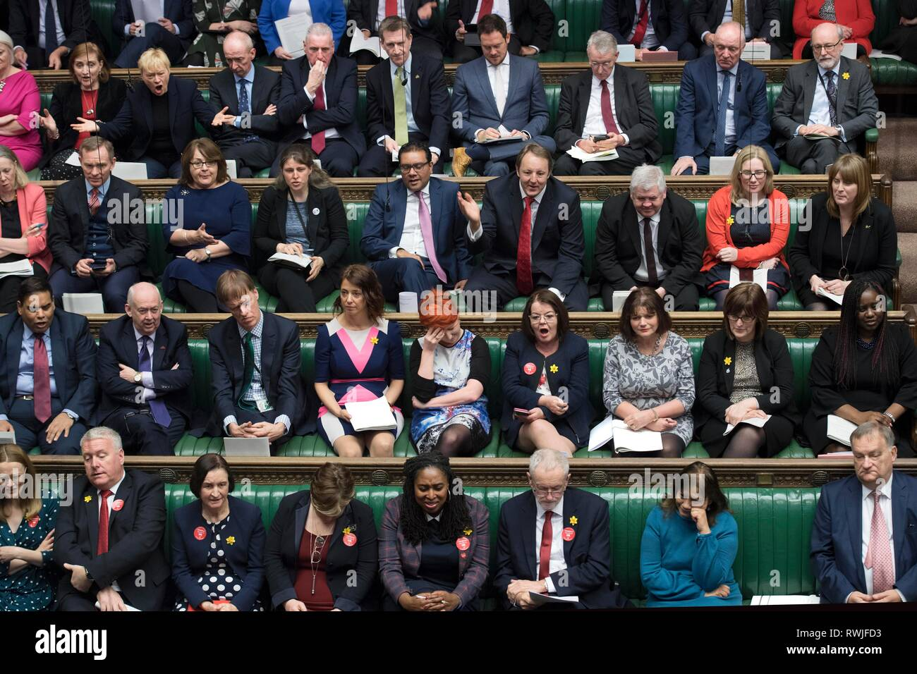 London, UK. 6th Mar, 2019. Photo taken on March 6, 2019 shows the scene of the Prime Minister's Questions in the House of Commons in London, Britain. Credit: UK Parliament/Jessica Taylor/Xinhua/Alamy Live News - Stock Image