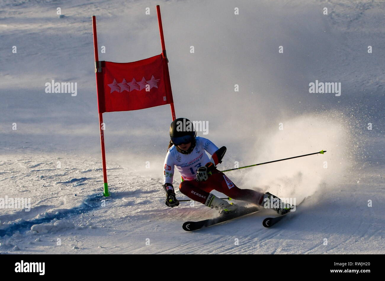Krasnoyarsk, Russia. 07th Mar, 2019. KRASNOYARSK, RUSSIA - MARCH 7, 2019: Skier Katarzyna Wasek of Poland competes in the women's giant slalom event at Bobrovy Log Funpark as part of the Krasnoyarsk 2019 Winter Universiade. Kirill Kukhmar/TASS Credit: ITAR-TASS News Agency/Alamy Live News - Stock Image