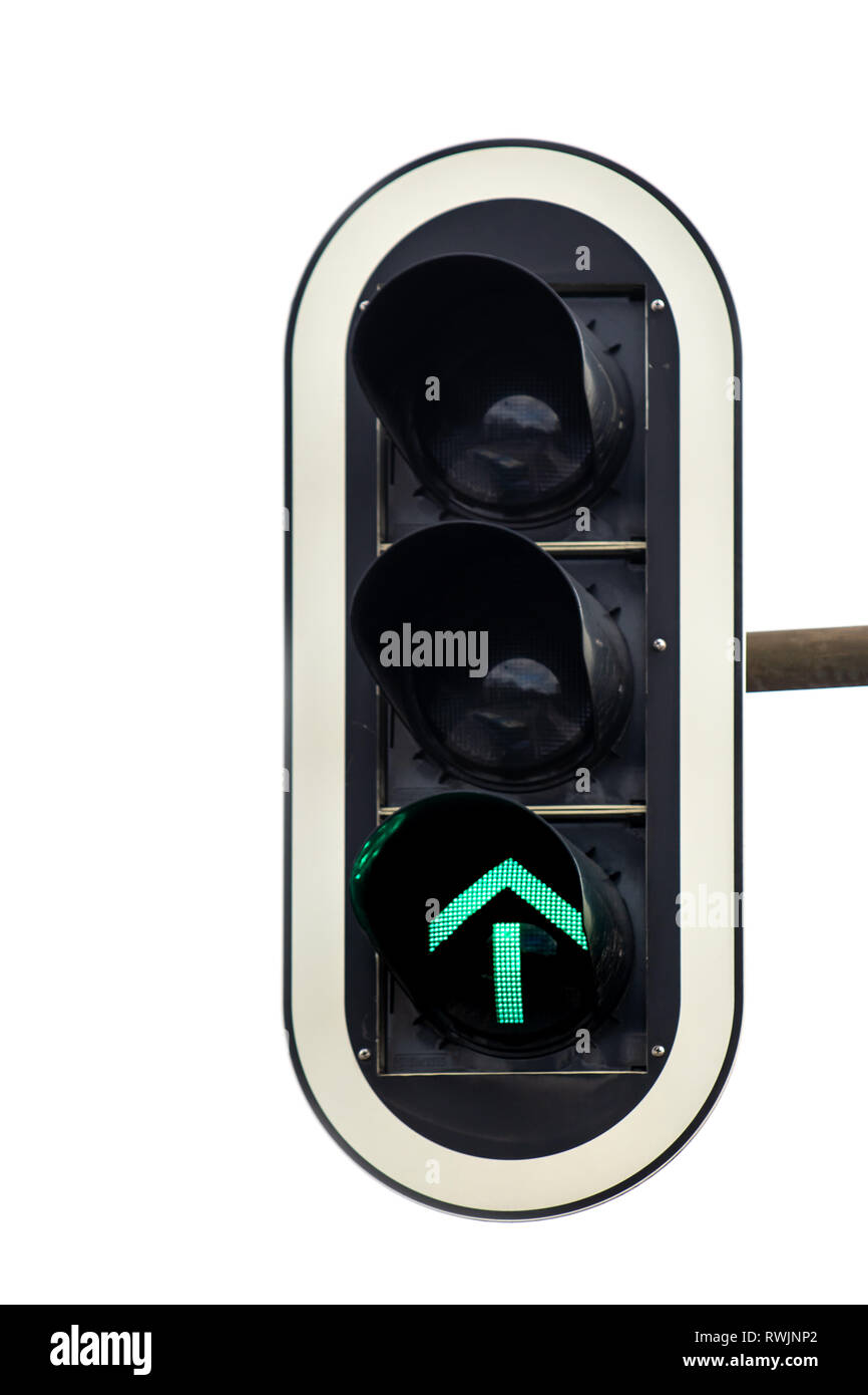 green arrow on traffic light road sign, success forward thinking concept symbol - Stock Image