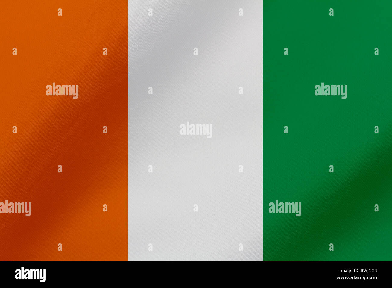 Beautiful Cote d'Ivoire waving flag illustration. - Stock Image