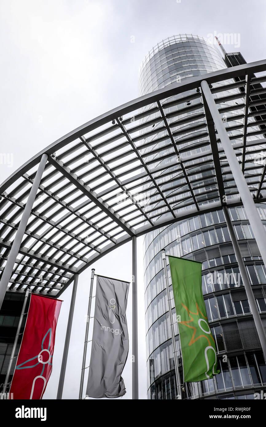 Essen, North Rhine-Westphalia, Germany - Innogy, flags in front of the RWE Tower.  Essen, Nordrhein-Westfalen, Deutschland - Innogy, Fahnen vor dem RW - Stock Image