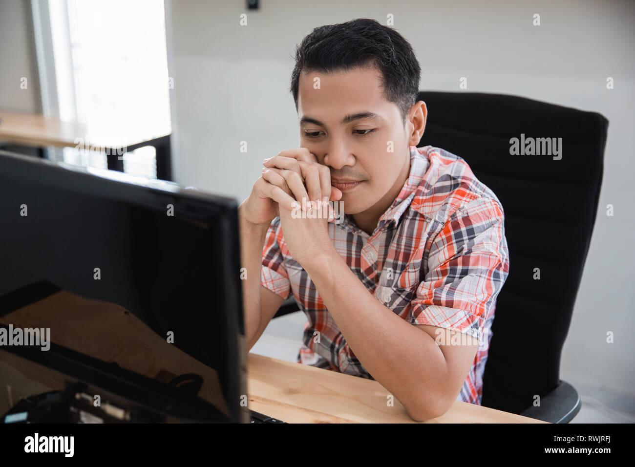 man losing and stress. asian businessman feeling depress - Stock Image