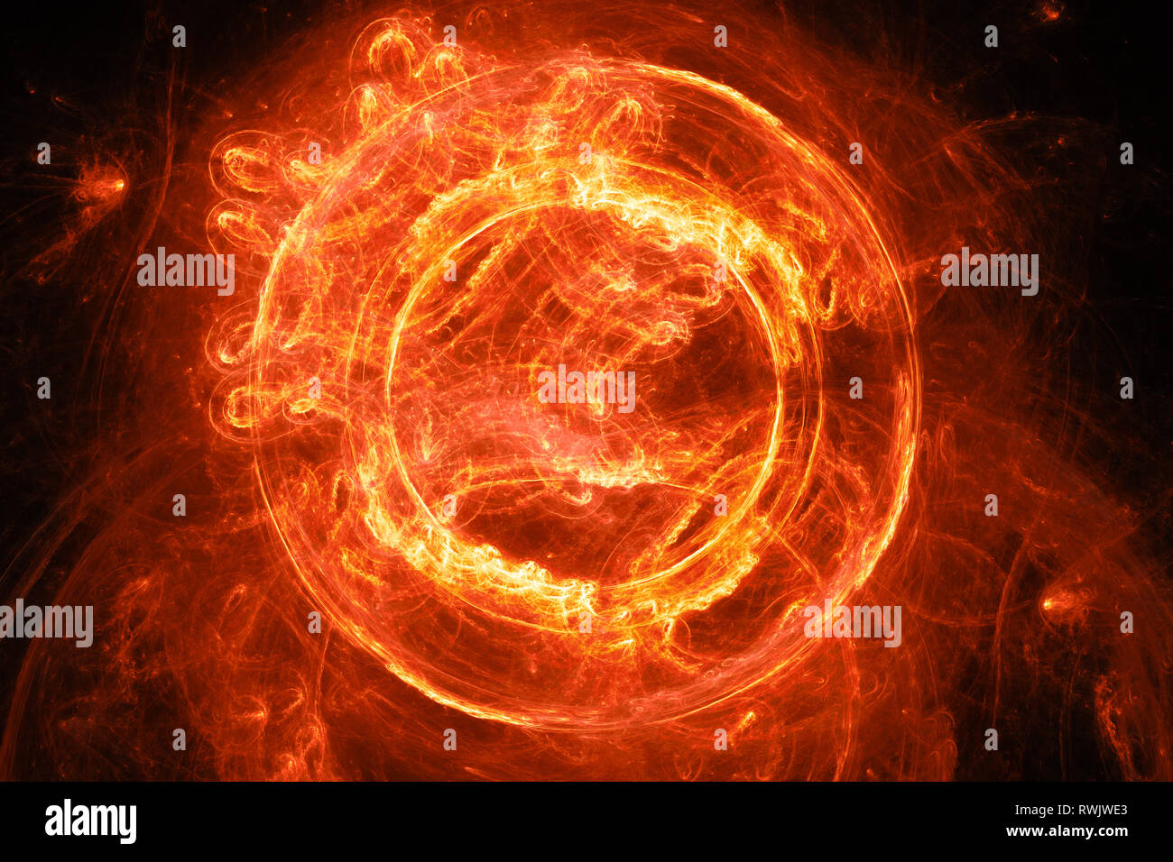 Fiery glowing plasma flame portal, computer generated abstract background, 3D rendering - Stock Image