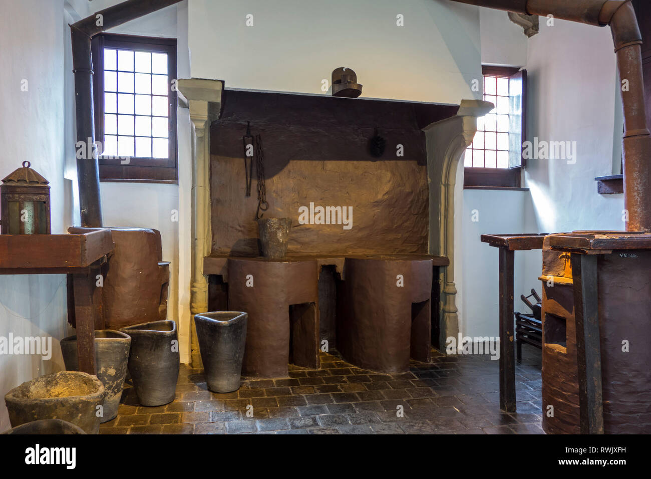 17th century smelter / type foundry in the Plantin-Moretus Museum / Plantin-Moretusmuseum about 16th century printers, Antwerp, Belgium - Stock Image