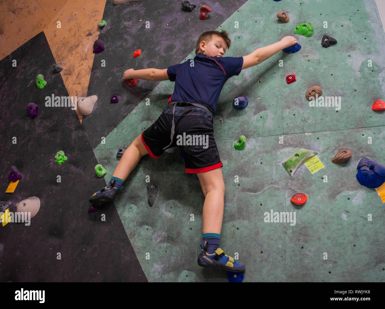 Climbing on rock wall - Stock Image
