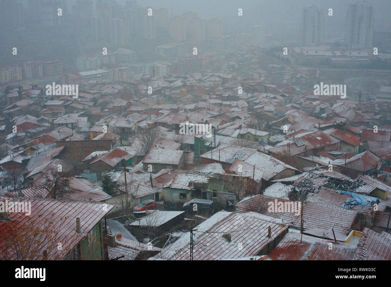 View of the city in winter. snow covered the entire city center. snowfall continues. urban buildings and city center. aerial view of the city. Ankara  Stock Photo