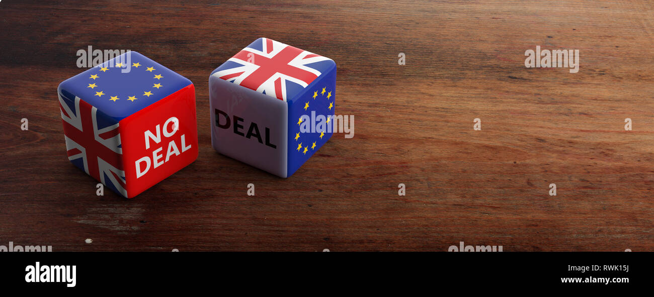 Brexit, deal or no deal concept. United Kingdom and European Union flags on dice, wooden background, banner, copy space. 3d illustration - Stock Image