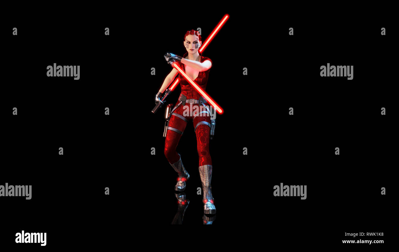 Redhead warrior girl with two futuristic light swords, braided woman with sci-fi saber weapon isolated on black background, 3D rendering - Stock Image