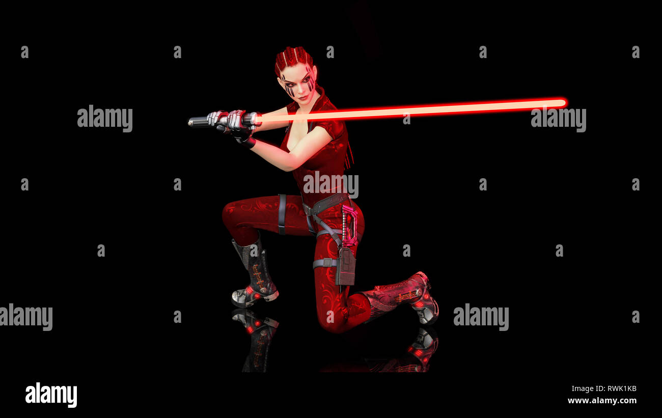 Redhead warrior girl with sci-fi laser sword, braided woman with futuristic saber weapon isolated on black background, 3D rendering - Stock Image