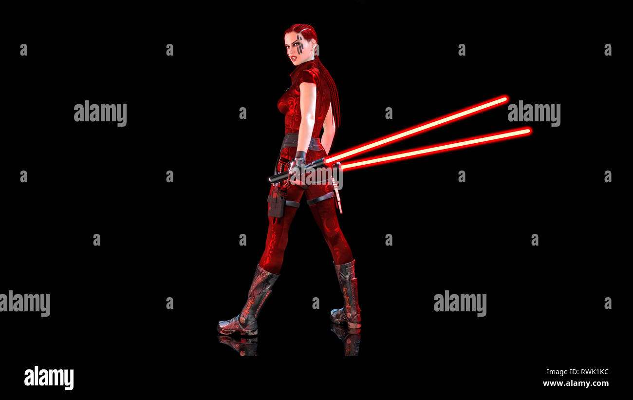 Redhead warrior girl with sci-fi light swords, braided woman with futuristic laser saber weapon isolated on black background, 3D rendering - Stock Image
