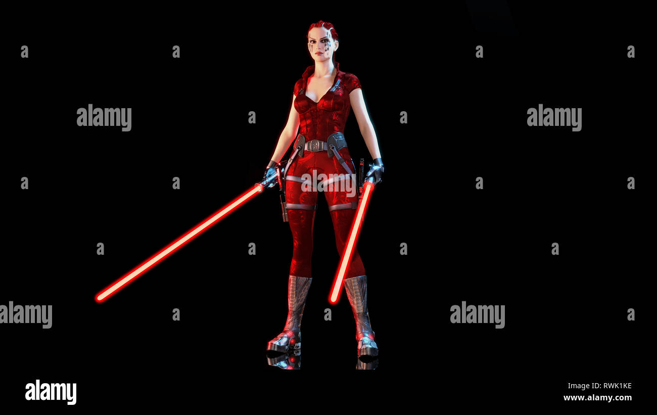 Redhead warrior girl with two futuristic light swords, braided woman with sci-fi laser saber weapon isolated on black background, 3D rendering - Stock Image