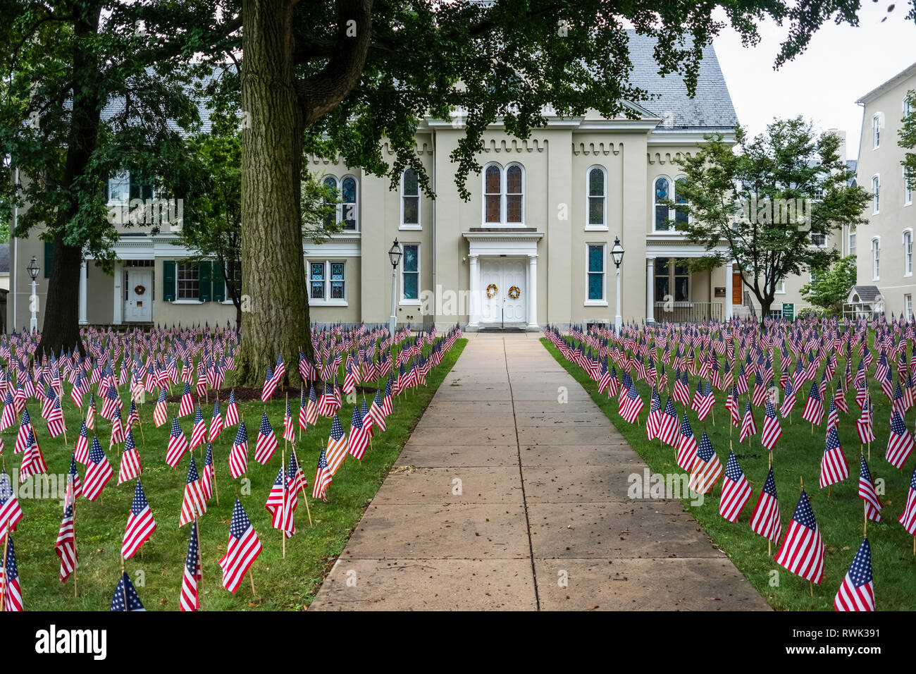 Flags in lawn for July 4 celebration; Lititz, Pennsylvania, United States of America - Stock Image