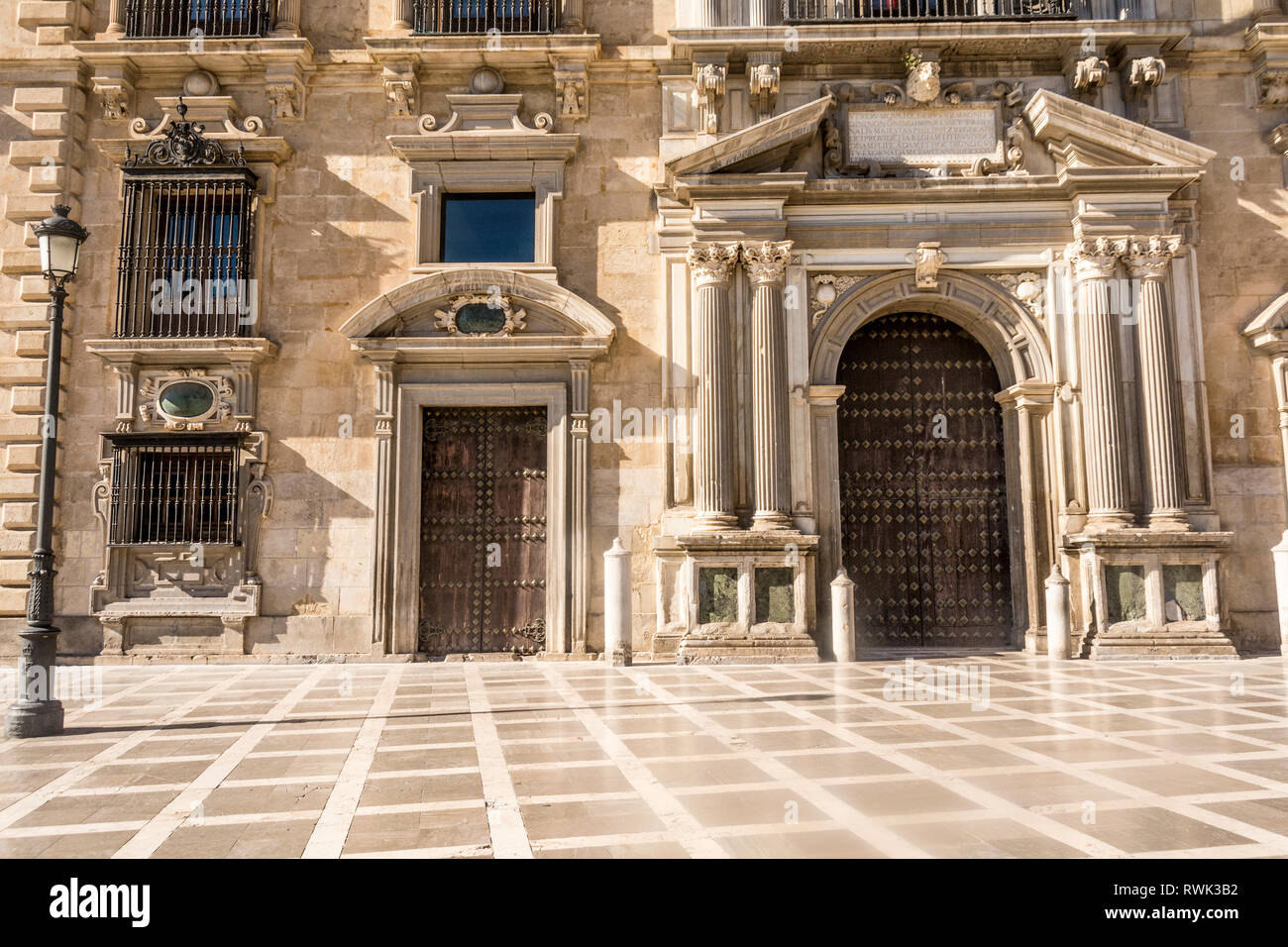 One of the main plazas in the city of Granada, Spain. - Stock Image