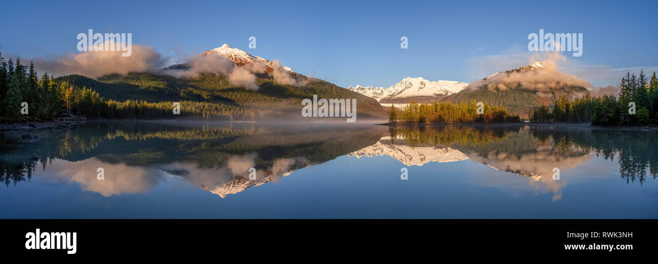Scenic panorama of Mendenhall Lake in fall,  Southeast Alaska; Alaska, United States of America - Stock Image