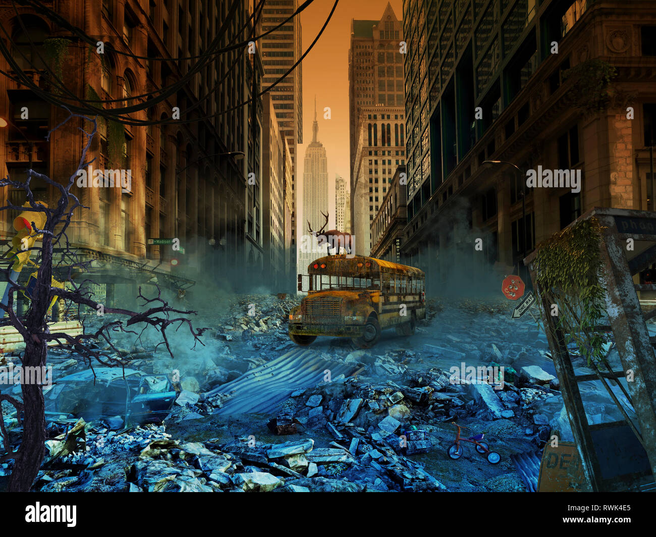Abandoned school bus in an apocalyptic New York City, composite image - Stock Image