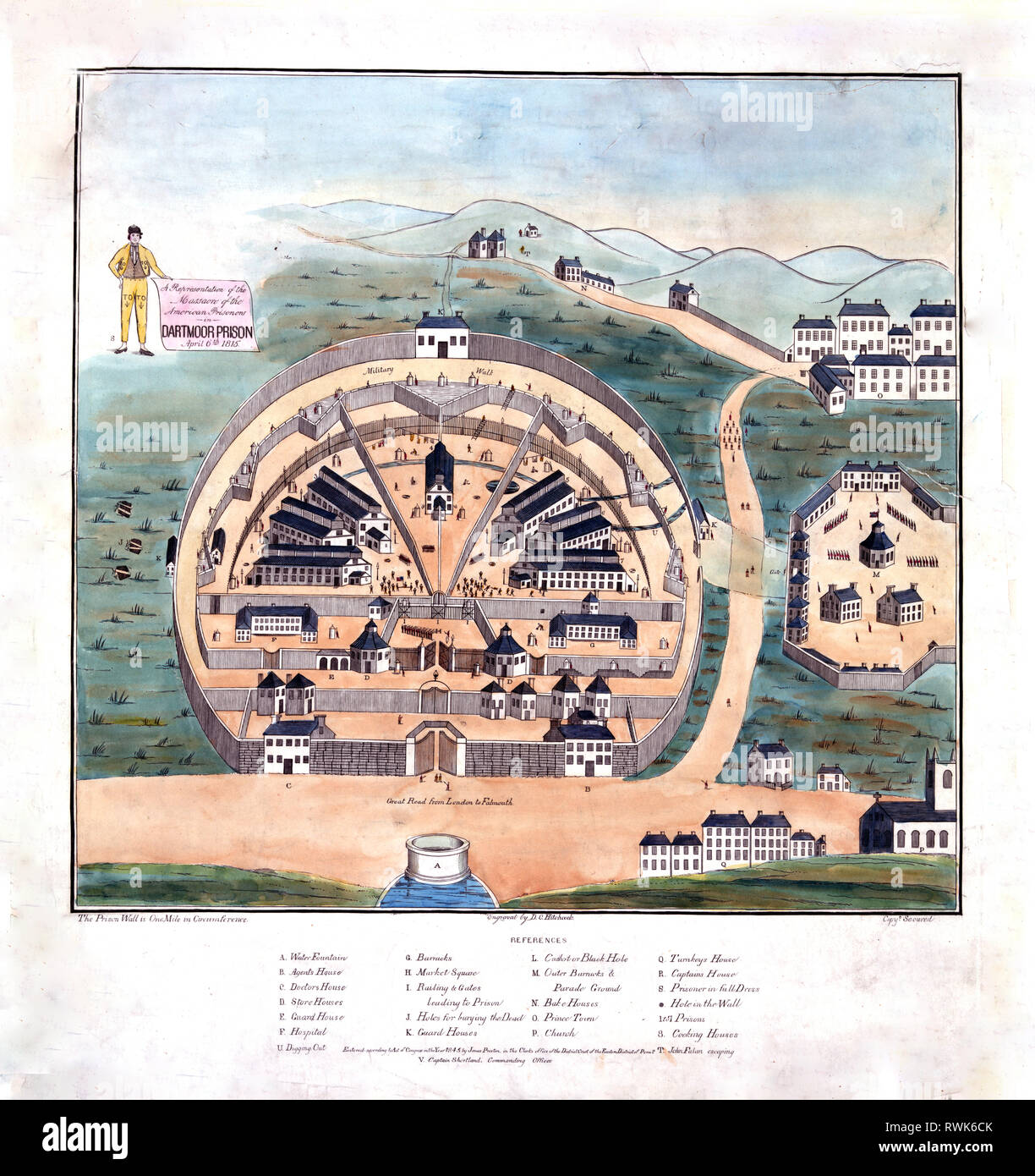 Print shows Dartmoor Prison in Devon, England, where American prisoners of war captured by British forces, especially at sea, were confined, even after the Trety of Ghen was signed in December 1814. Angered at being left behind, prisoners burned U.S. agent Reuben G. Beasley in effigy, which led to a confrontation with prison guards and a reduction of rations. Fearful of insubordination, guards shot the prisoners, killing 7 and wounding 31. - Stock Image