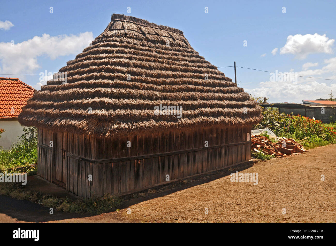 A typical agricultural building on Madeira - Stock Image