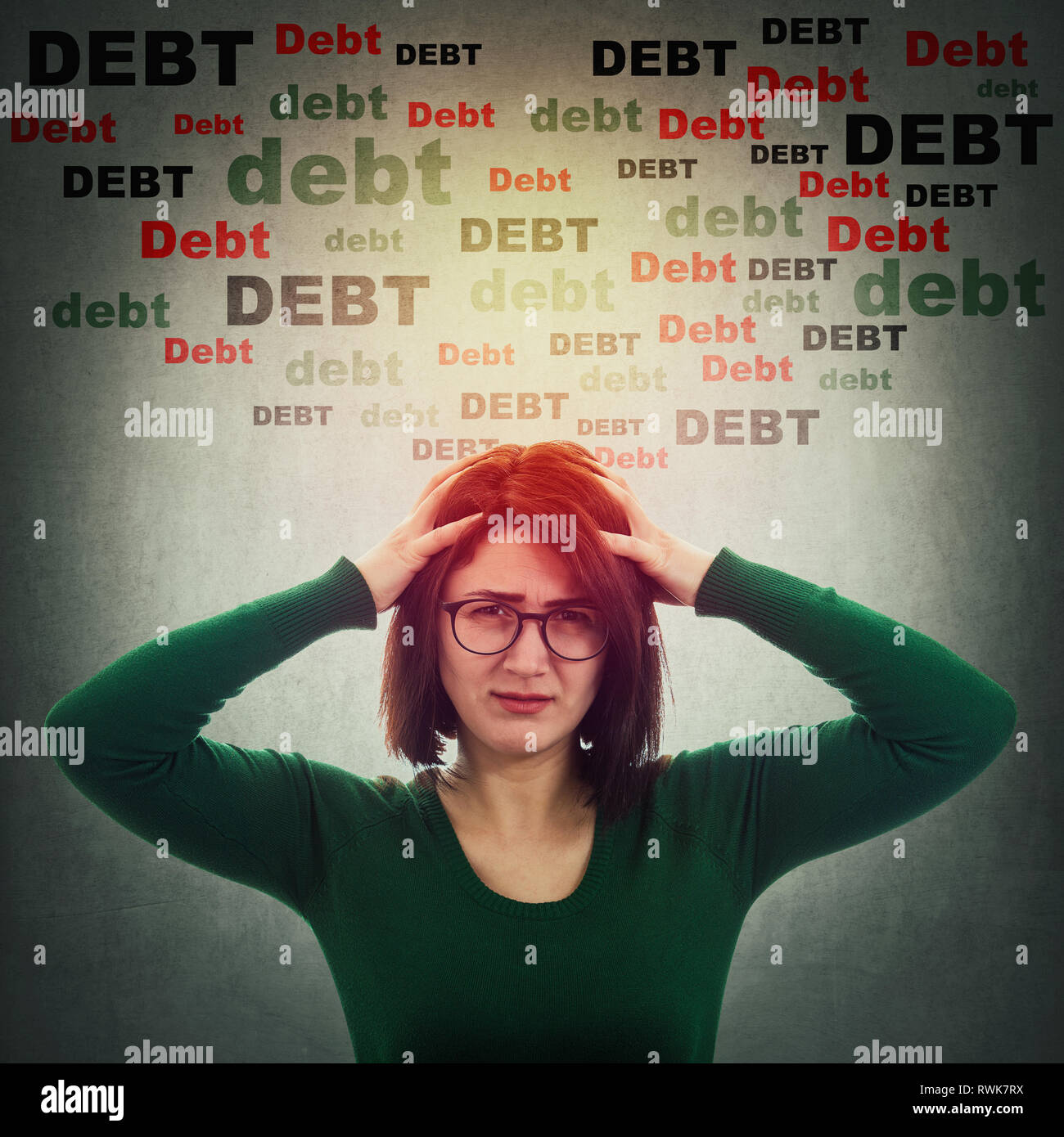Desperate woman anxiety and headache feeling, mess in head, stress and migraine, shocked about huge debt amount, has no money. Financial problems, ove - Stock Image