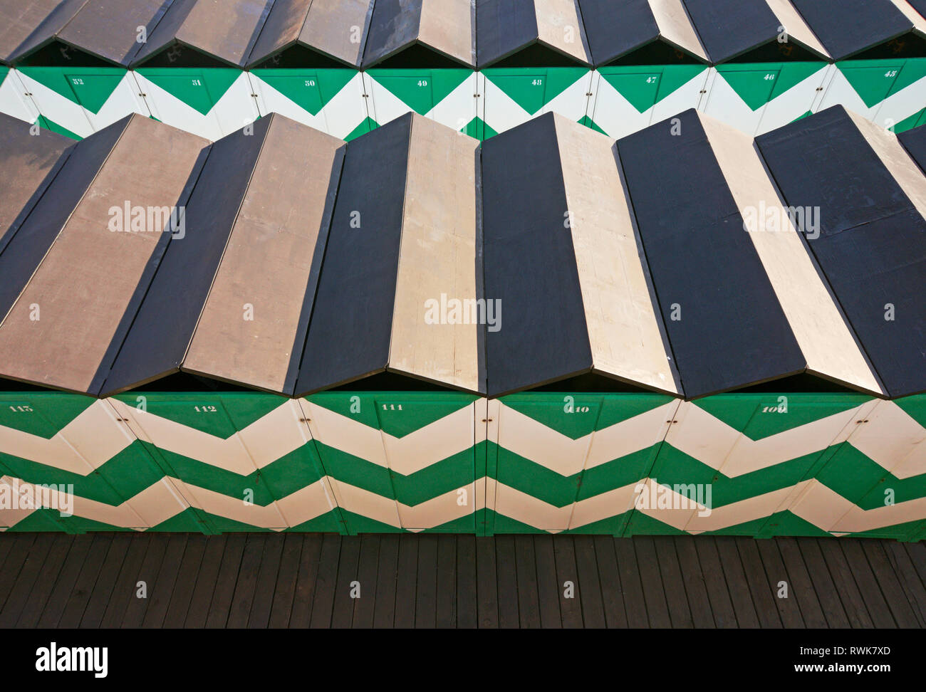 high angle view of beach changing cabins - Stock Image