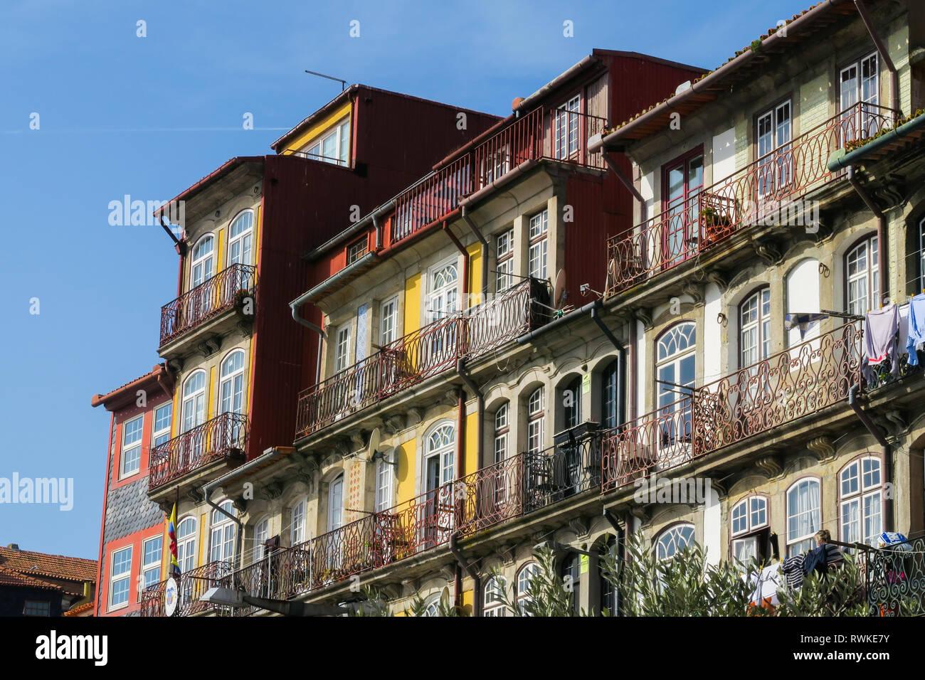 Typical colorful house facades in the old town of porto, portugal Stock Photo