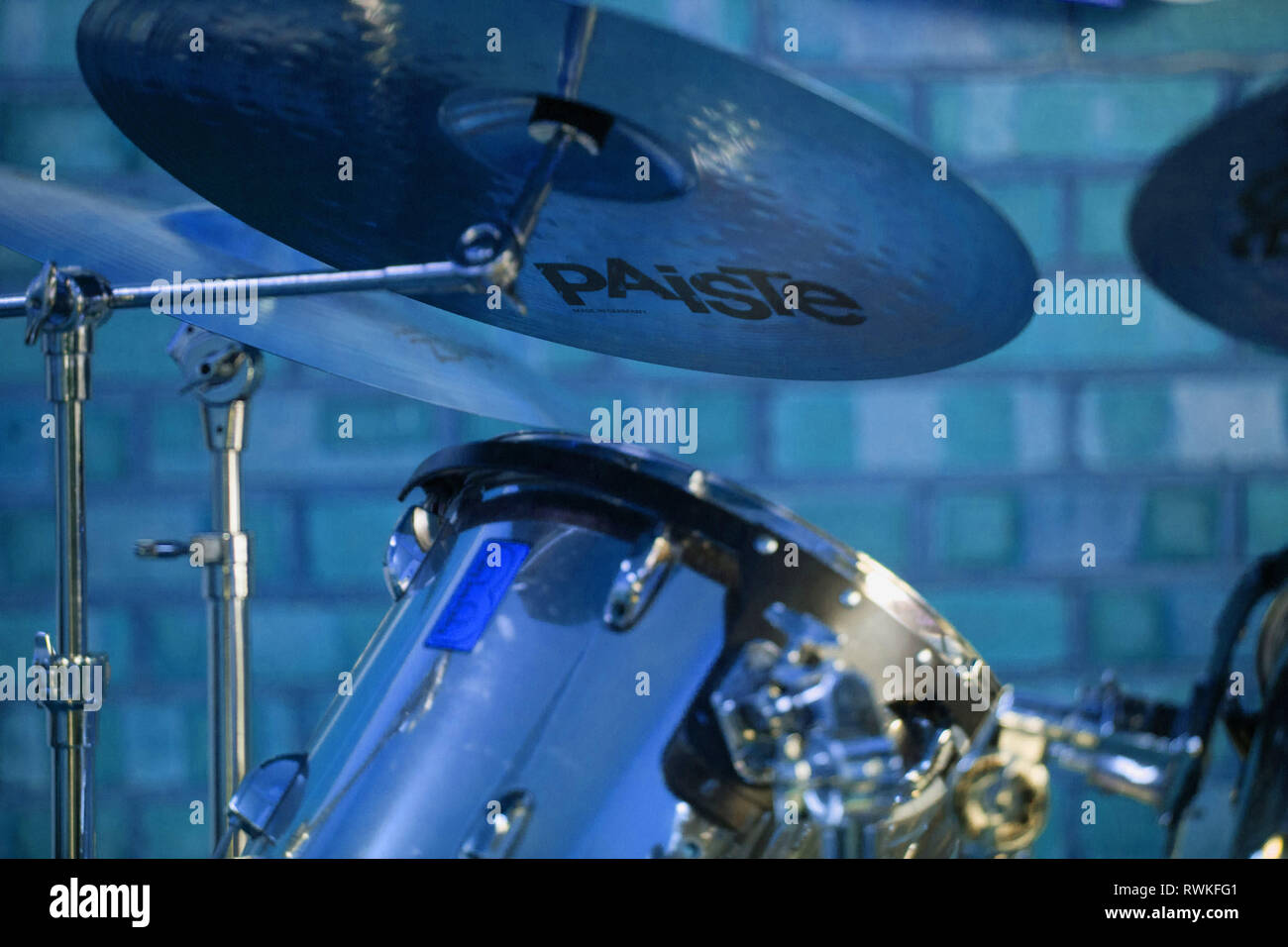 Part of a drumkit, blue tinted drum kit, Paiste cymbals Stock Photo