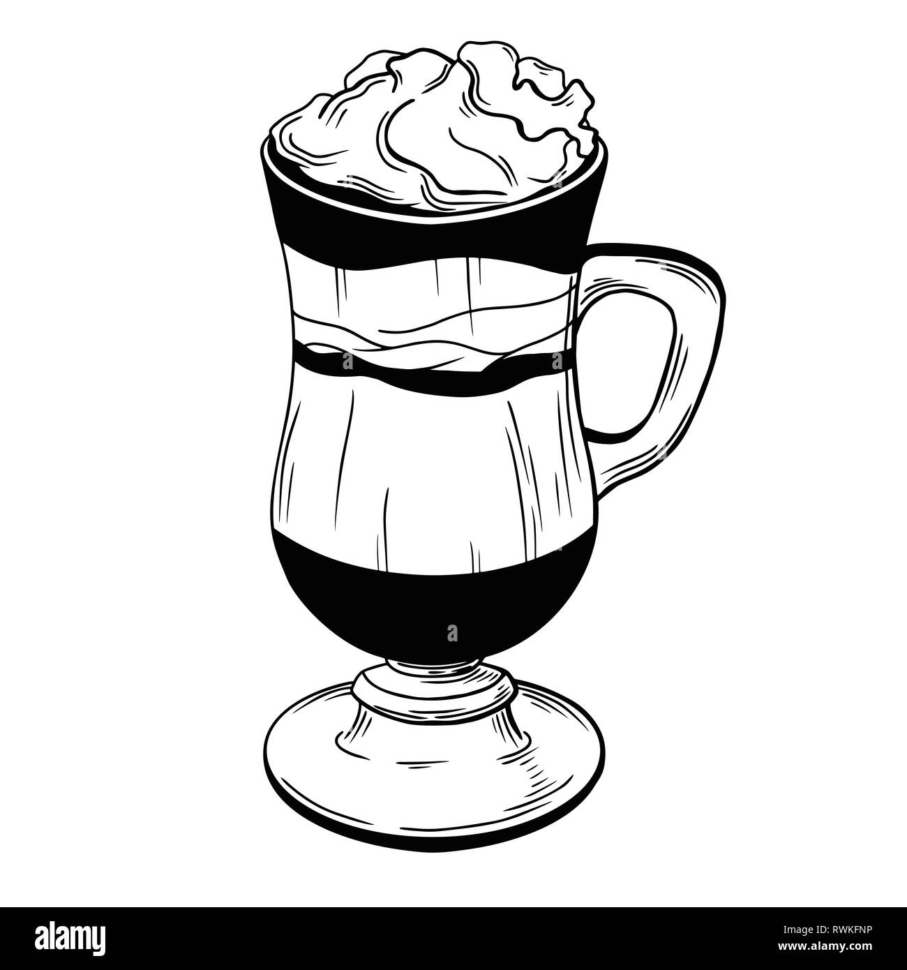 Coffee cocktail isolated on white background. Vector illustration of a sketch style. - Stock Vector