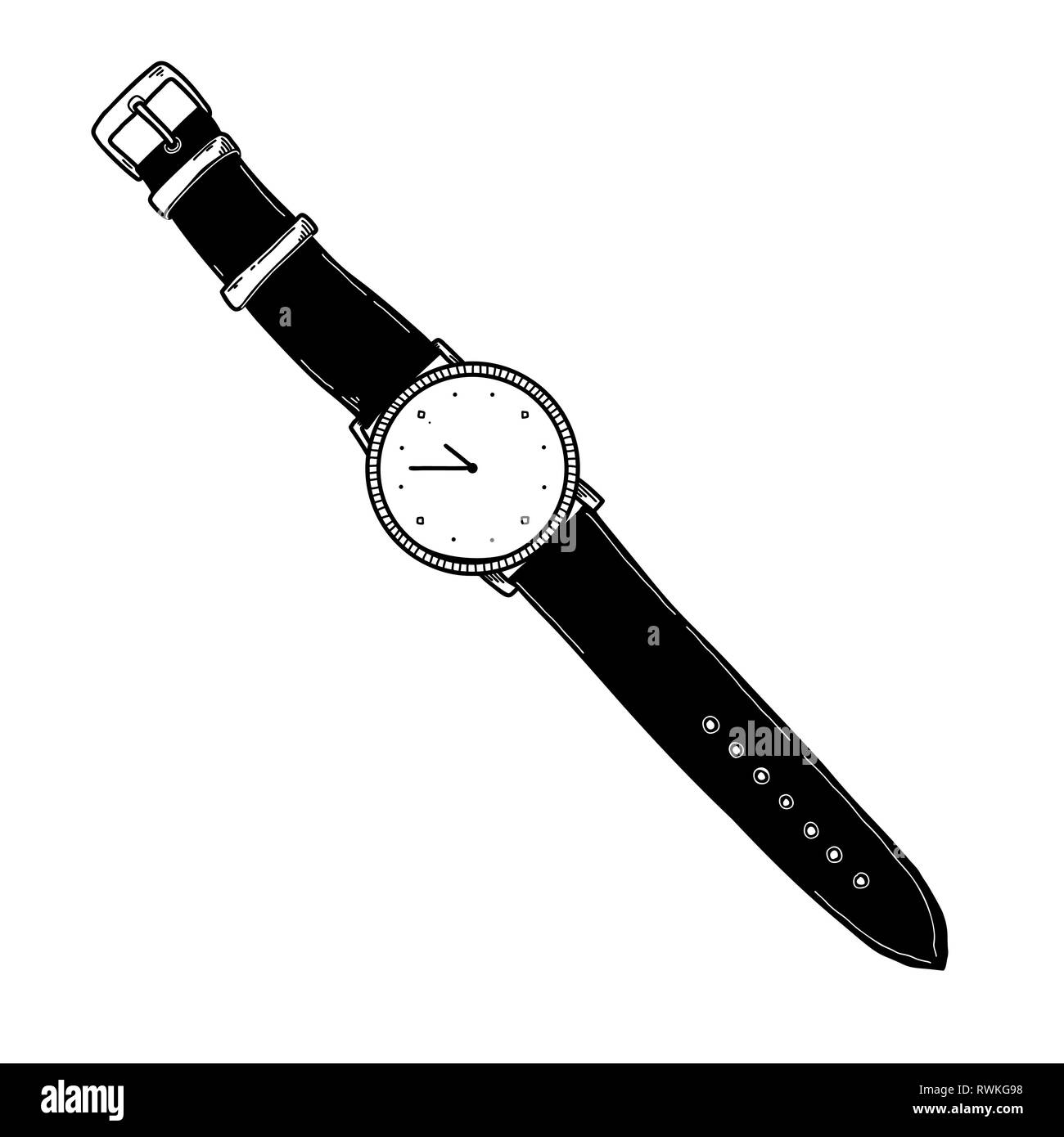 Realistic sketch of a watch. Wristwatches on the strap. Vector - Stock Image