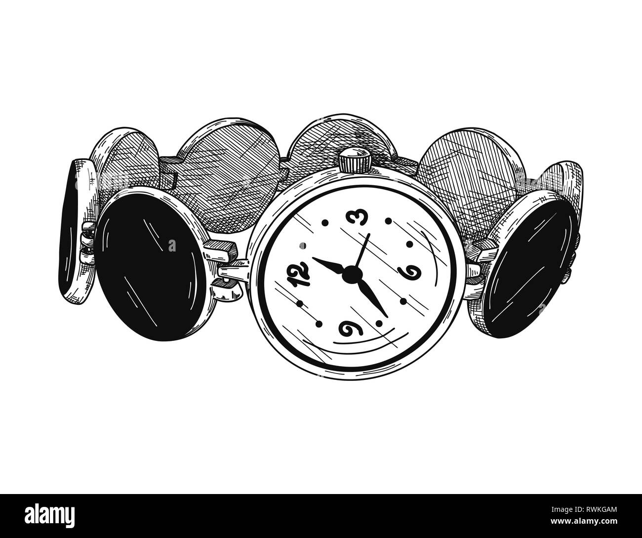 Realistic sketch of a watch. Wristwatches on a metal bracelet. Vector - Stock Image