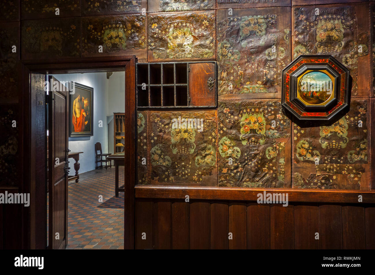 Gold leather hangings in office at the Plantin-Moretus Museum / Plantin-Moretusmuseum about 16th century printers, Antwerp, Belgium - Stock Image