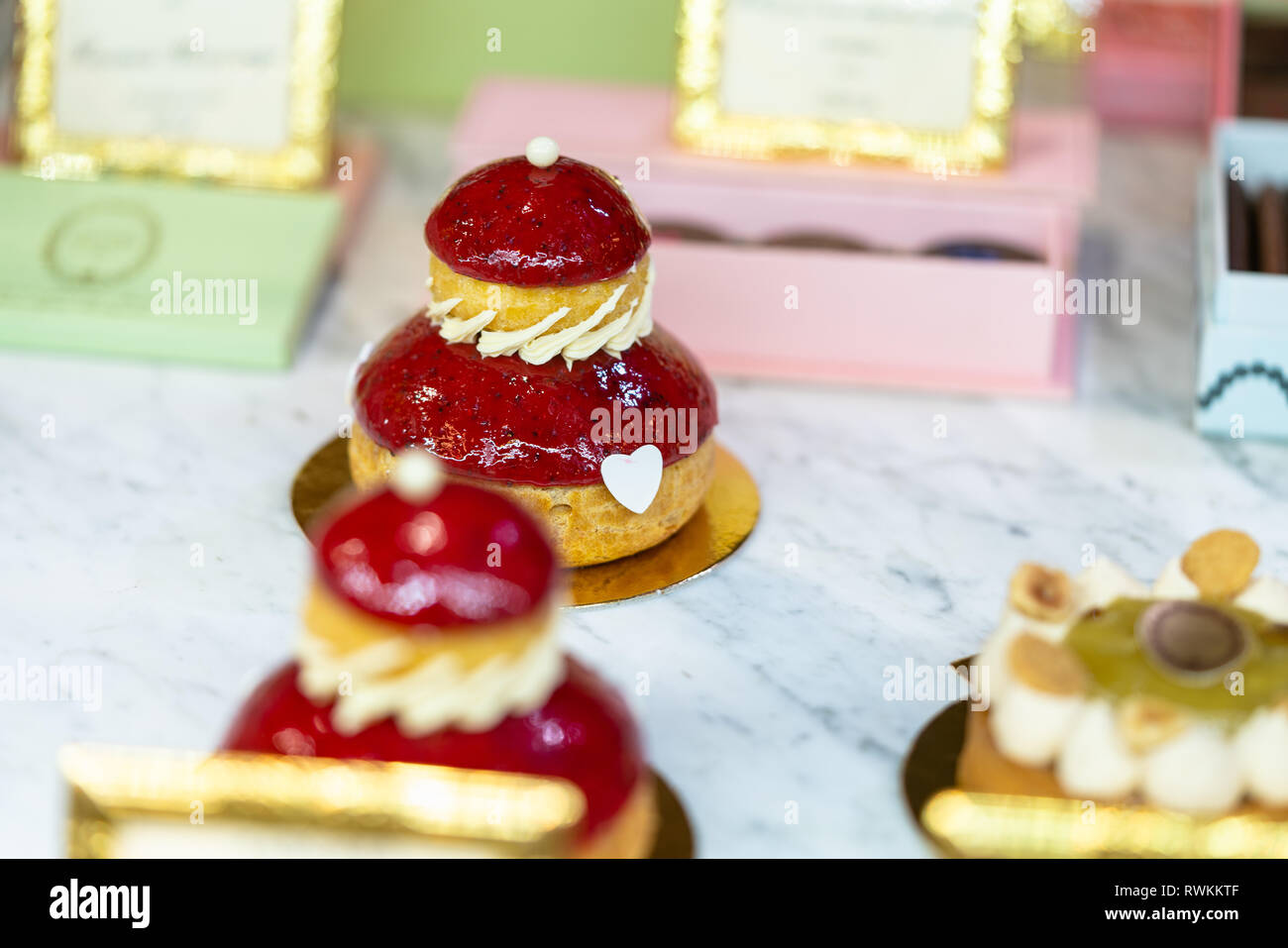 Delicious cakes on a coffee shop.  Sweet. Beautiful. Food styling. - Stock Image