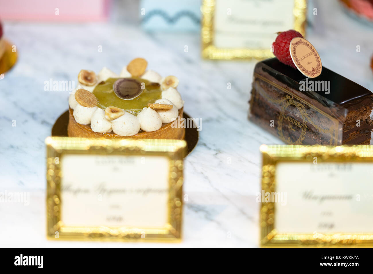 Delicious cakes on a coffee shop.  Sweet. Beautiful. Food styling. Stock Photo