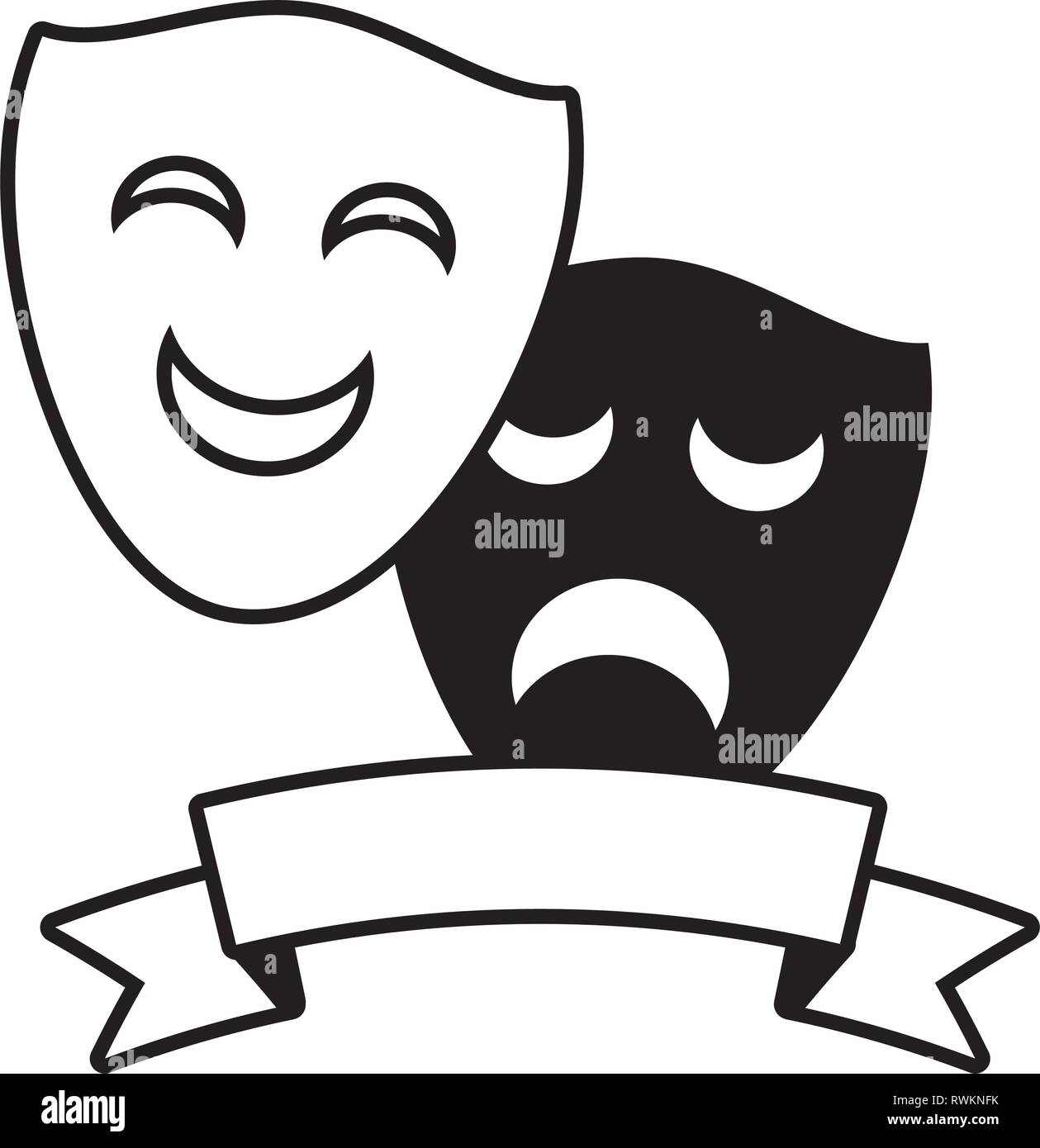 drama comedy mask theater - Stock Vector