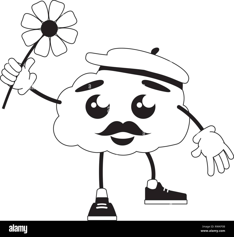 cartoon brain creativity - Stock Image