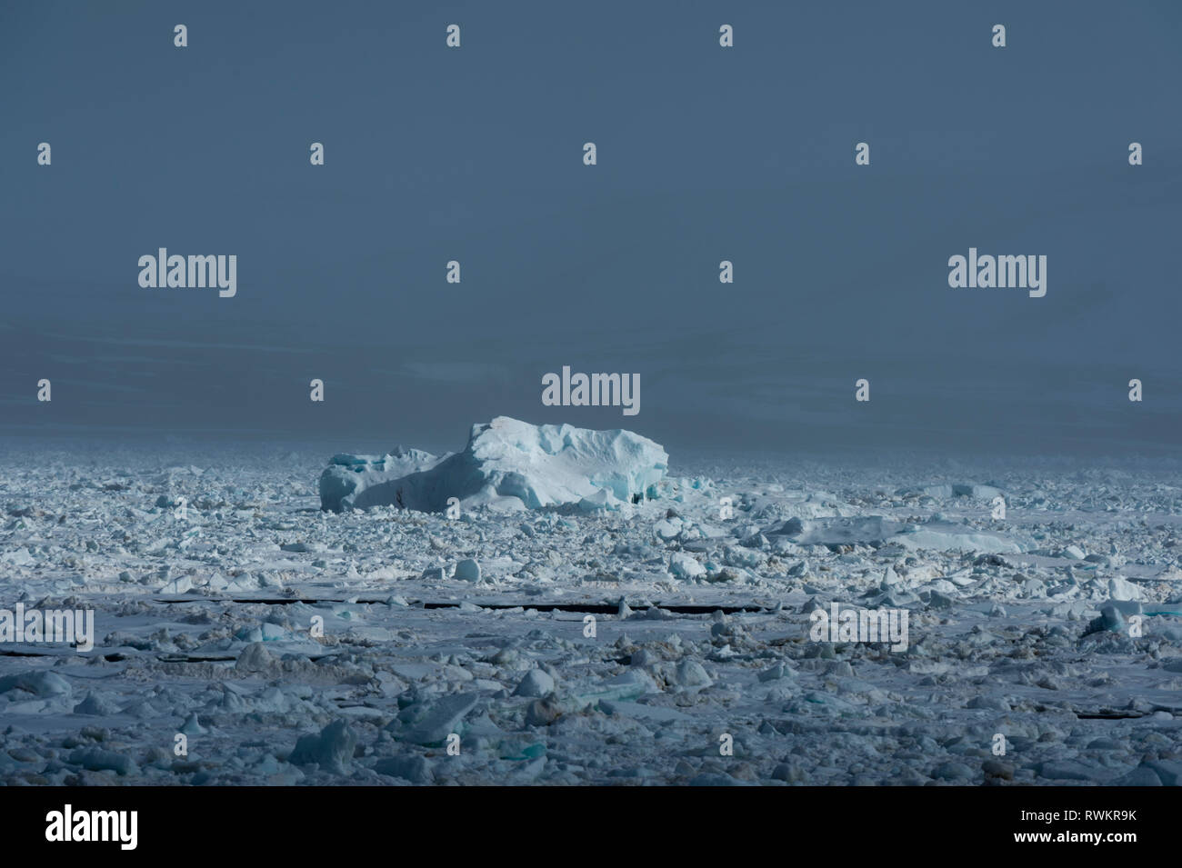 Arctic ocean sea ice and coastal mist, Wahlenberg fjord, Nordaustlandet, Svalbard, Norway. - Stock Image