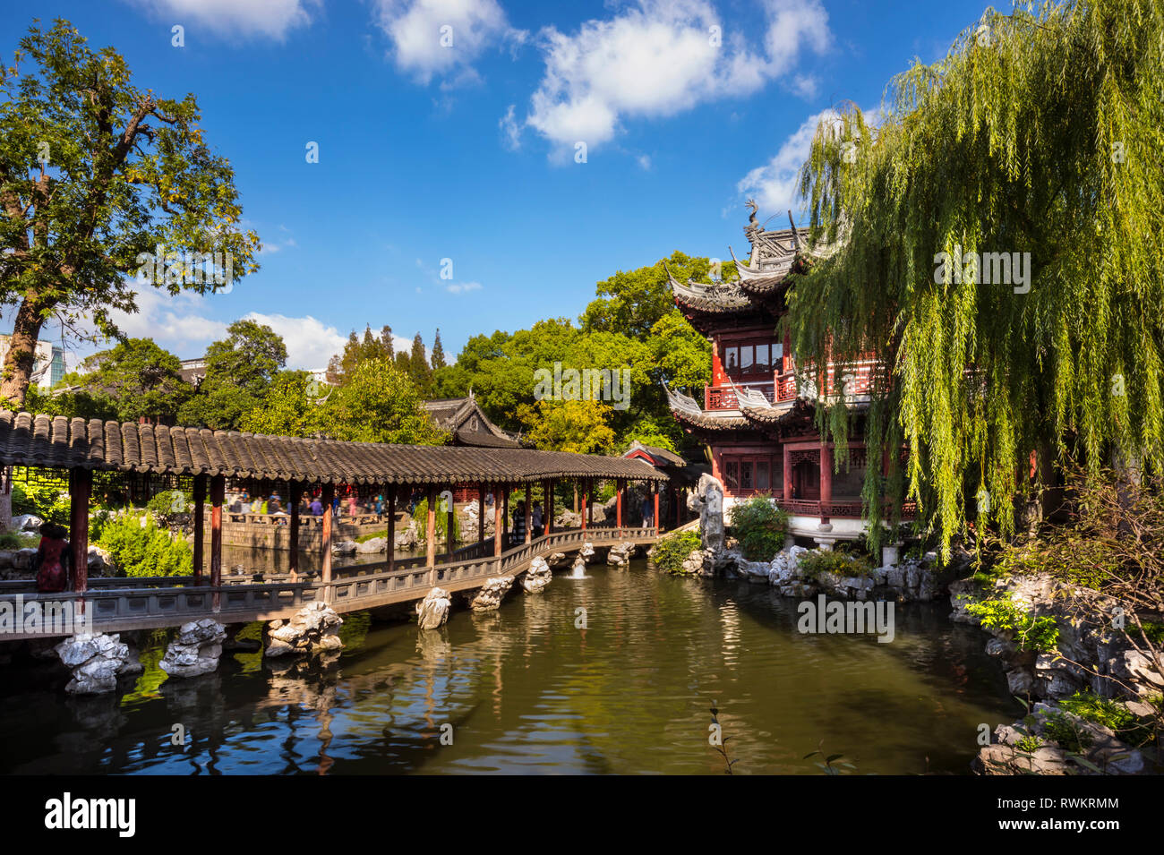 Pavilion of Listening to Billows in Yu Garden, Shanghai, China Stock Photo