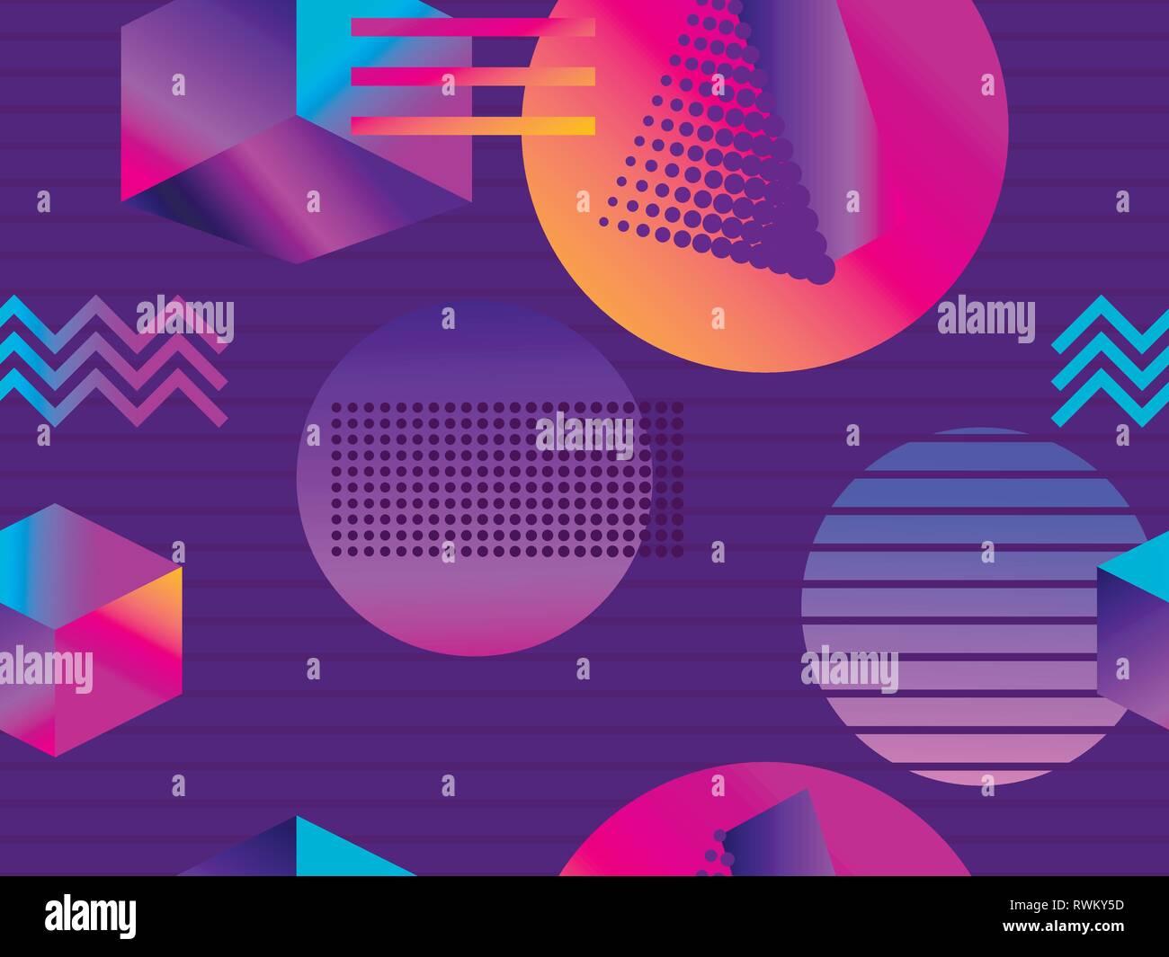 Futuristic seamless pattern with geometric shapes  Isometric