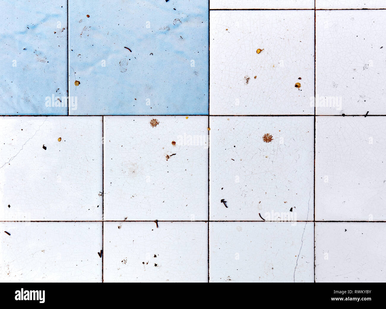 Dirty and unhygienic white and blue square bathroom and kitchen tiles background. Stock Photo